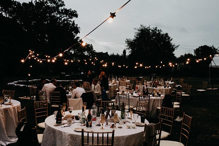 Festoon Lights Outdoor Rustic Greenery Copper Chateau Wedding in France http://hindmari.com/