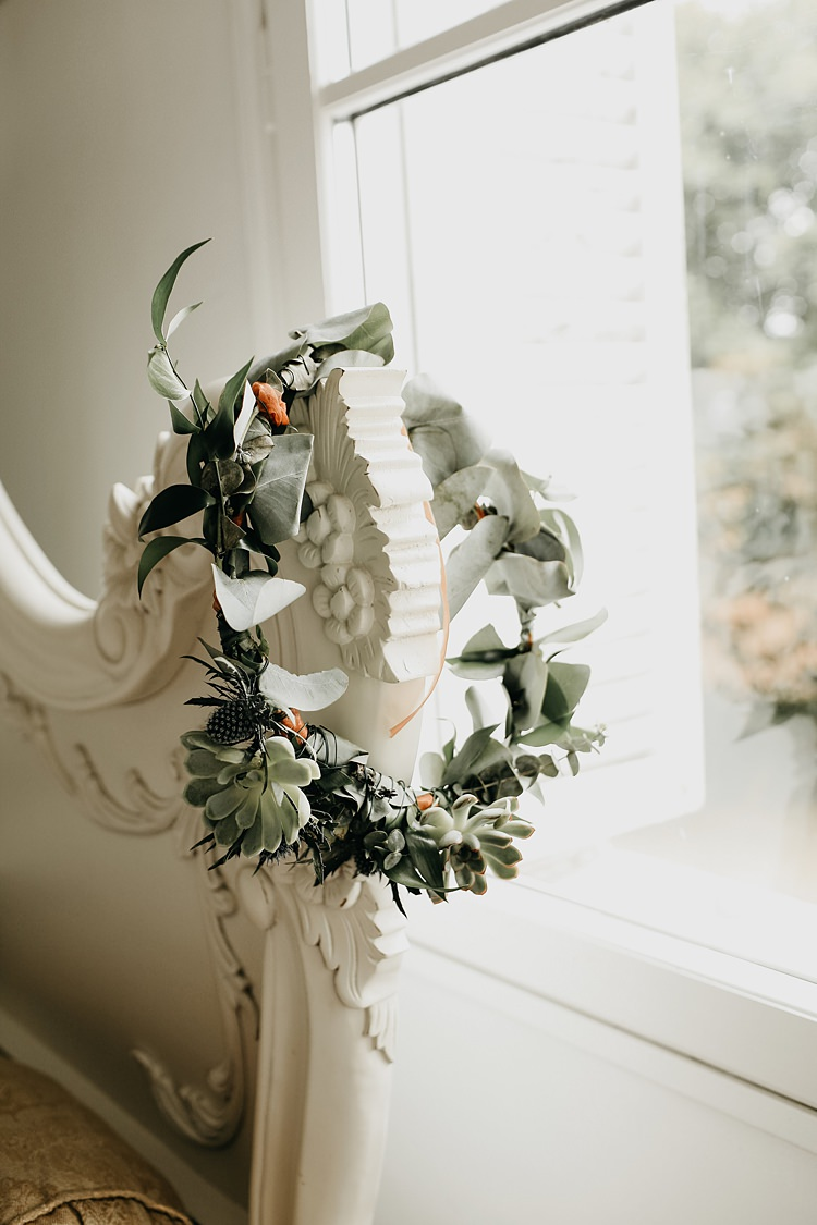 Flower Crown Bride Bridal Foliage Rustic Greenery Copper Chateau Wedding in France http://hindmari.com/
