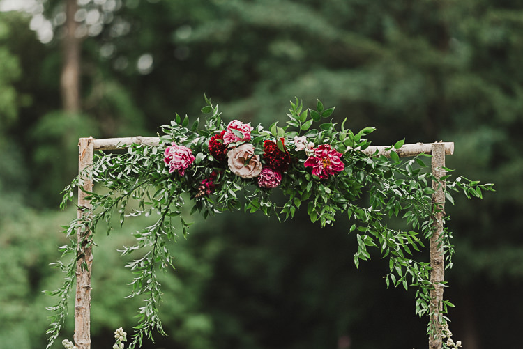 Roses Pink Red Greenery Stylish Woodland Tipi Wedding Flower Arch https://willpatrickweddings.com/