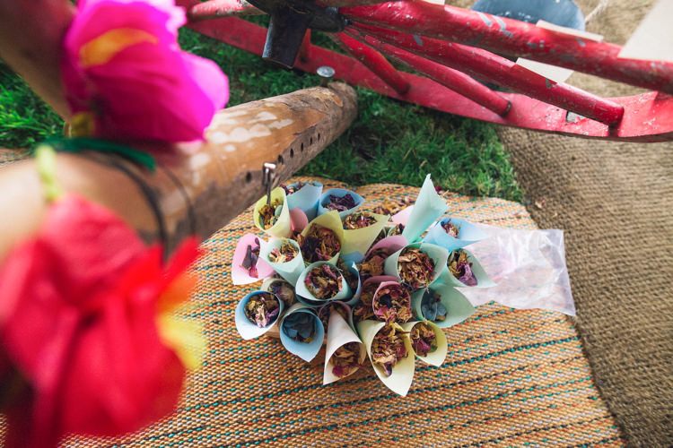 Confetti Cones Petals Outdoorsy Welcoming Colourful Tipi Wedding http://www.sallytphoto.com/