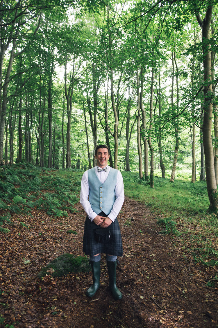 Kilt Groom Waistcoat Bow Tie Outdoorsy Welcoming Colourful Tipi Wedding http://www.sallytphoto.com/
