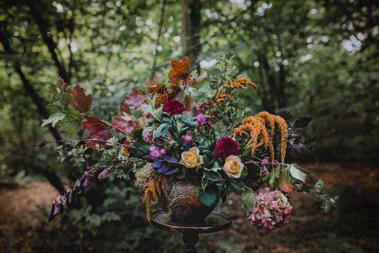 Flowers Urn Leaves Orange Rose Dahlia Hydrangea Autumn Atmospheric Woodland Wedding Ideas http://www.kategrayphotography.com/