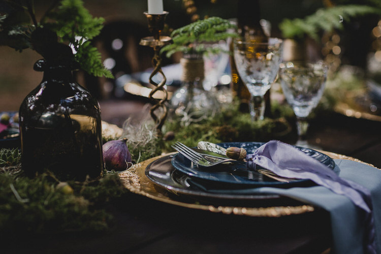 Tablescape Flowers Candles Decor Moss Atmospheric Woodland Wedding Ideas http://www.kategrayphotography.com/