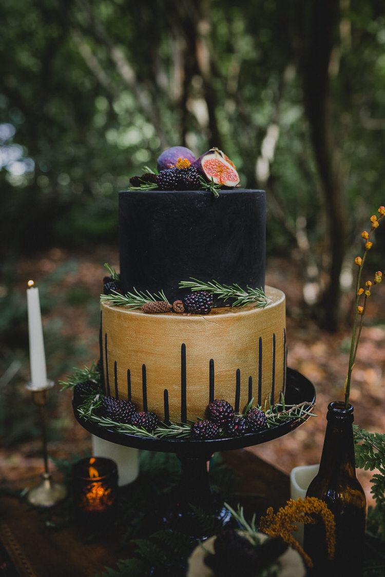 Black Gold Drip Cake Fruit Herbs Atmospheric Woodland Wedding Ideas http://www.kategrayphotography.com/