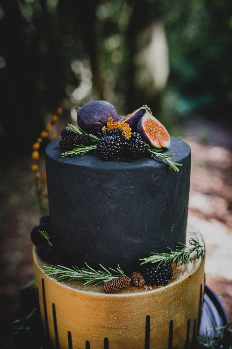 Gold Black Cake Fruit Atmospheric Woodland Wedding Ideas http://www.kategrayphotography.com/