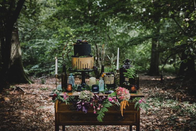 Cake Table Black Gold Treats Candles Flowers Atmospheric Woodland Wedding Ideas http://www.kategrayphotography.com/