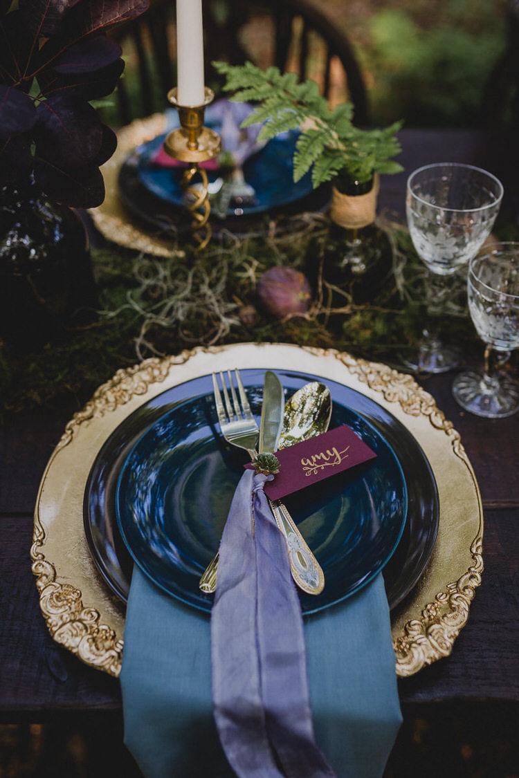 Place Setting Gold Purple Ribbon Name Card Atmospheric Woodland Wedding Ideas http://www.kategrayphotography.com/