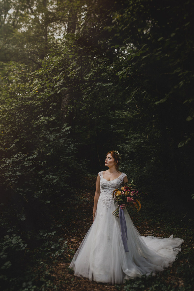 Lace Tulle Dress Gown Bride Bridal Straps Atmospheric Woodland Wedding Ideas http://www.kategrayphotography.com/