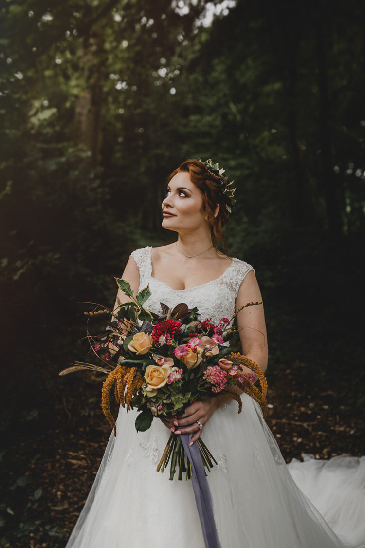 Bouquet Flowers Bride Bridal Autumn Orange Red Rose Ribbon Leaf Atmospheric Woodland Wedding Ideas http://www.kategrayphotography.com/
