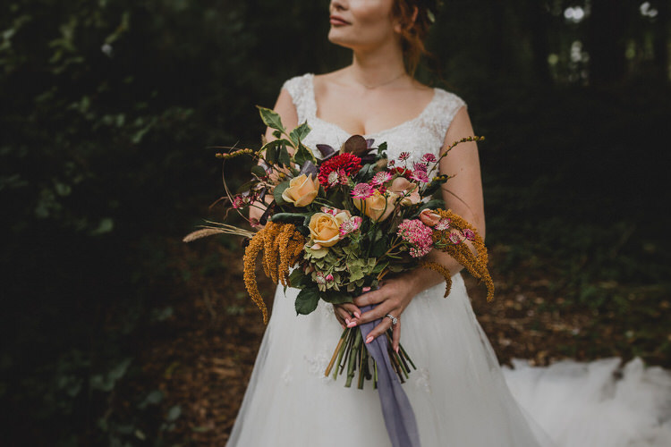 Bouquet Flowers Autumn Rose Orange Red Bride Bridal Ribbon Atmospheric Woodland Wedding Ideas http://www.kategrayphotography.com/