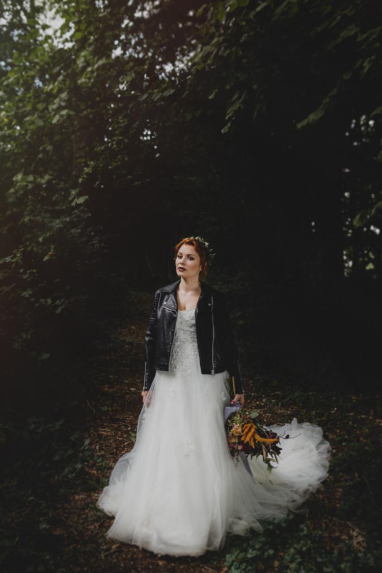 Leather Jacket Bride Bridal Atmospheric Woodland Wedding Ideas http://www.kategrayphotography.com/