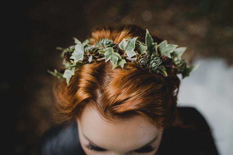 Ivy Flower Crown Bride Bridal Atmospheric Woodland Wedding Ideas http://www.kategrayphotography.com/