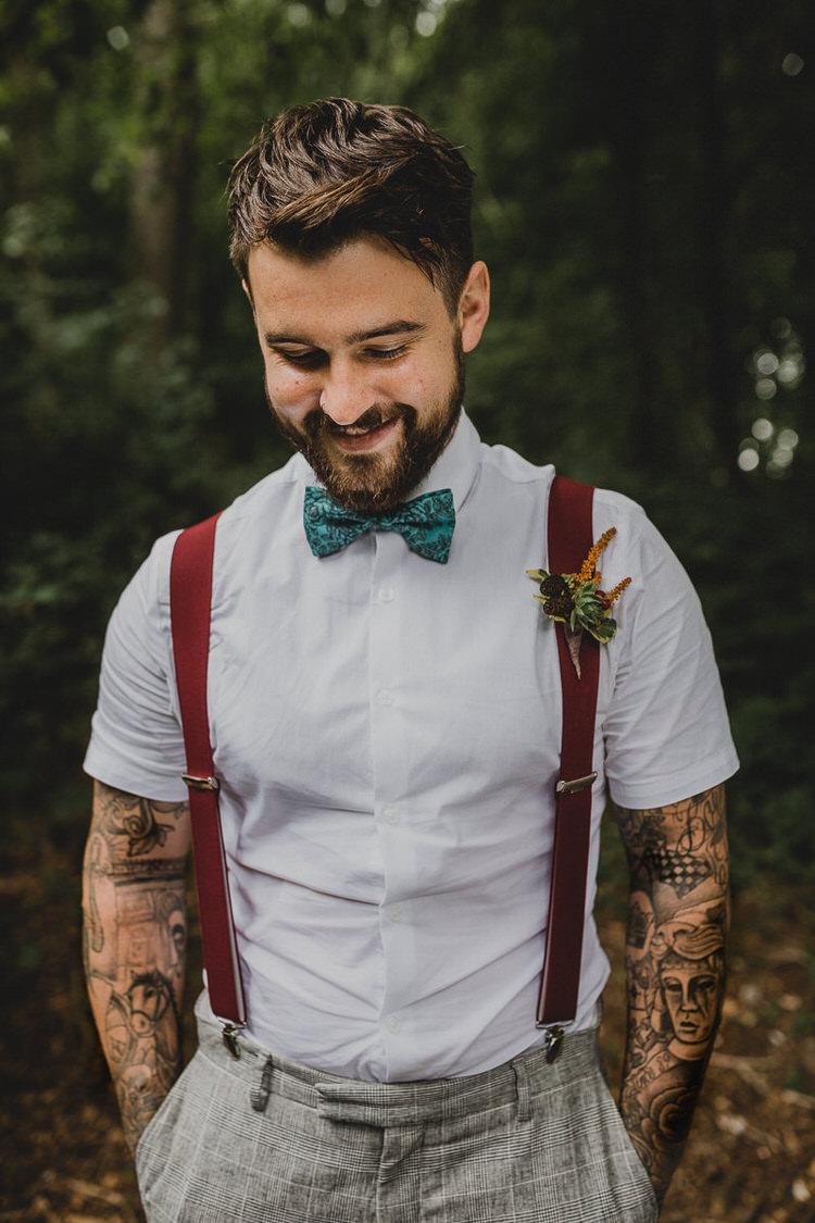 Bow Tie Braces Tattoos Groom Atmospheric Woodland Wedding Ideas http://www.kategrayphotography.com/