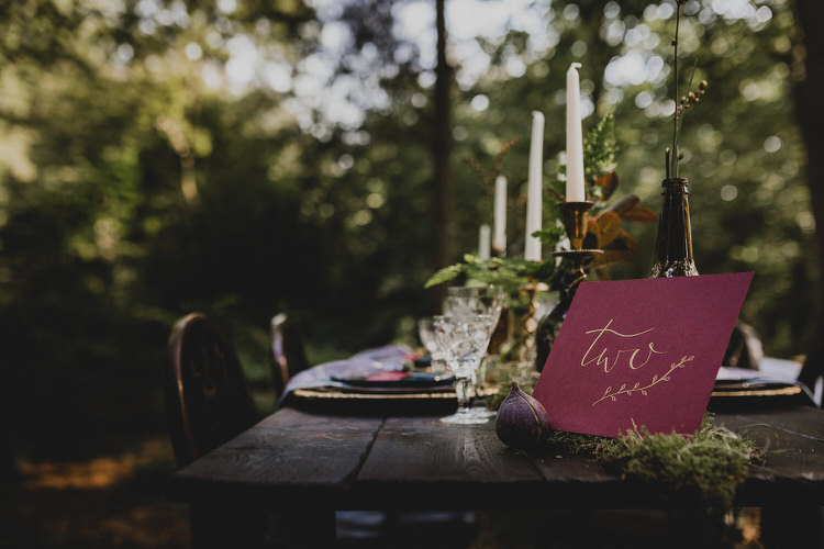 Gold Red Table Number Calligraphy Atmospheric Woodland Wedding Ideas http://www.kategrayphotography.com/