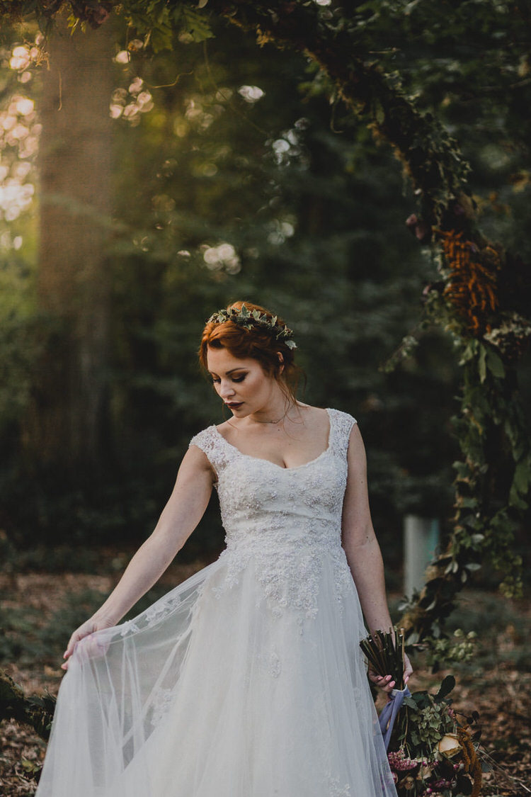 Bride Bridal Lace Tulle Dress Gown Straps Atmospheric Woodland Wedding Ideas http://www.kategrayphotography.com/