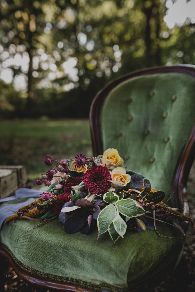 Flowers Bouquet Dalia Rose Leaves Atmospheric Woodland Wedding Ideas http://www.kategrayphotography.com/