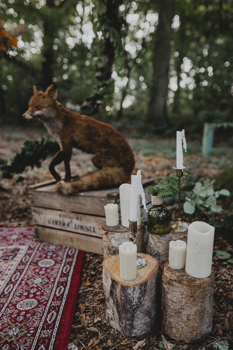 Candles Logs Decor Atmospheric Woodland Wedding Ideas http://www.kategrayphotography.com/