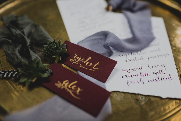 Gold Calligraphy Place Name Card Atmospheric Woodland Wedding Ideas http://www.kategrayphotography.com/