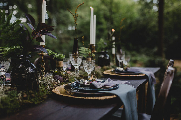 Tablescape Flowers Candles Decor Atmospheric Woodland Wedding Ideas http://www.kategrayphotography.com/