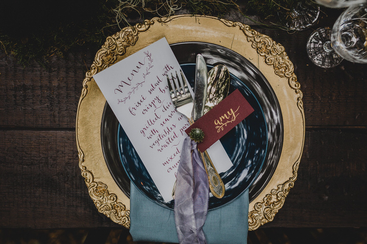 Place Setting Gold Purple Red Decor Atmospheric Woodland Wedding Ideas http://www.kategrayphotography.com/