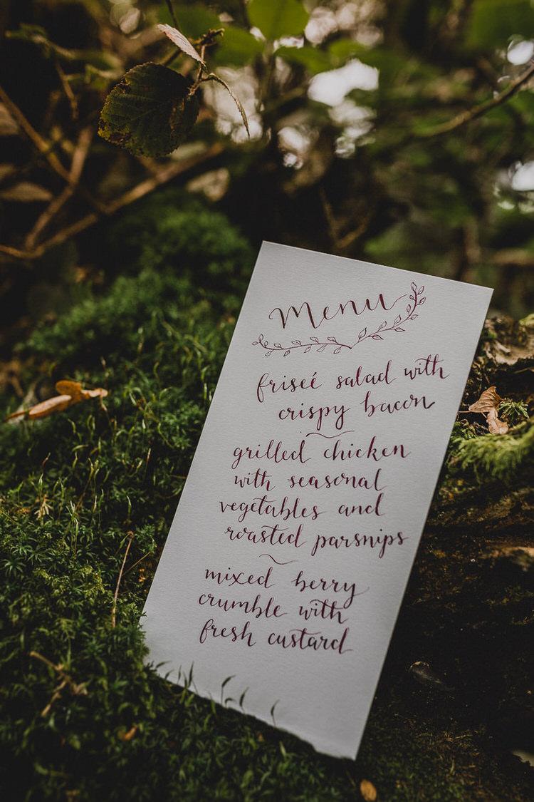 Calligraphy Menu Stationery Atmospheric Woodland Wedding Ideas http://www.kategrayphotography.com/