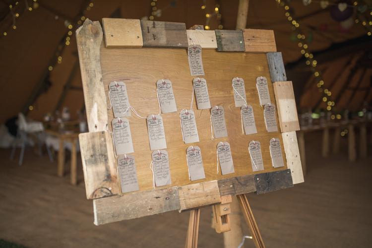 Wooden Luggage Tag Seating Plan Table Chart Boho Festival Tipi Wedding http://alexaclarkekent.com/