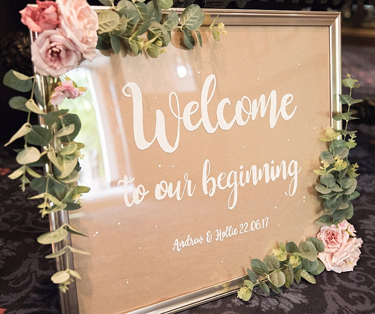Welcome Sign Entrance Modern Calligraphy Roses Greenery Gold Frame Classic Romantic Pretty Wedding https://kerryannduffy.com/
