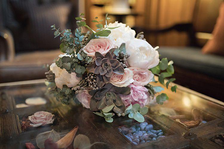 Bouquet Blousy Bride Bridal Roses Peonies Succulents Classic Romantic Pretty Wedding https://kerryannduffy.com/
