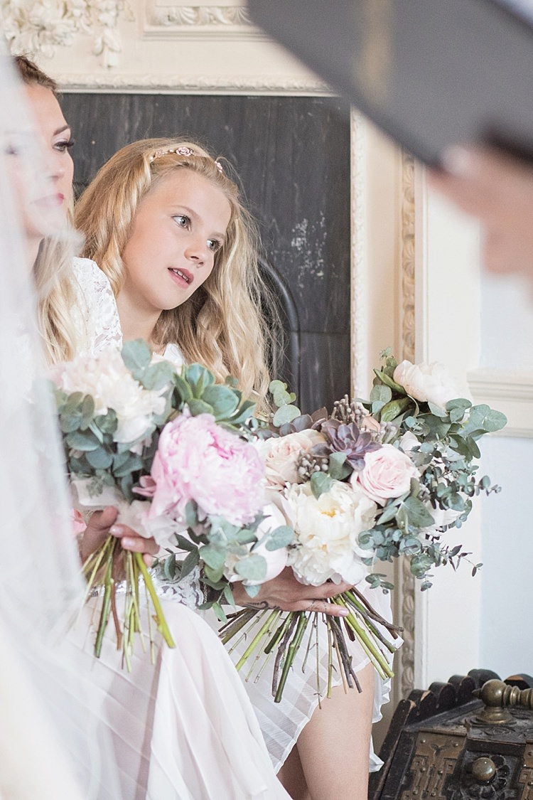 Bouquet Flower Girl Bridesmaid Eucalyptus Succulents Roses Peonies Greenery Loose Classic Romantic Pretty Wedding https://kerryannduffy.com/