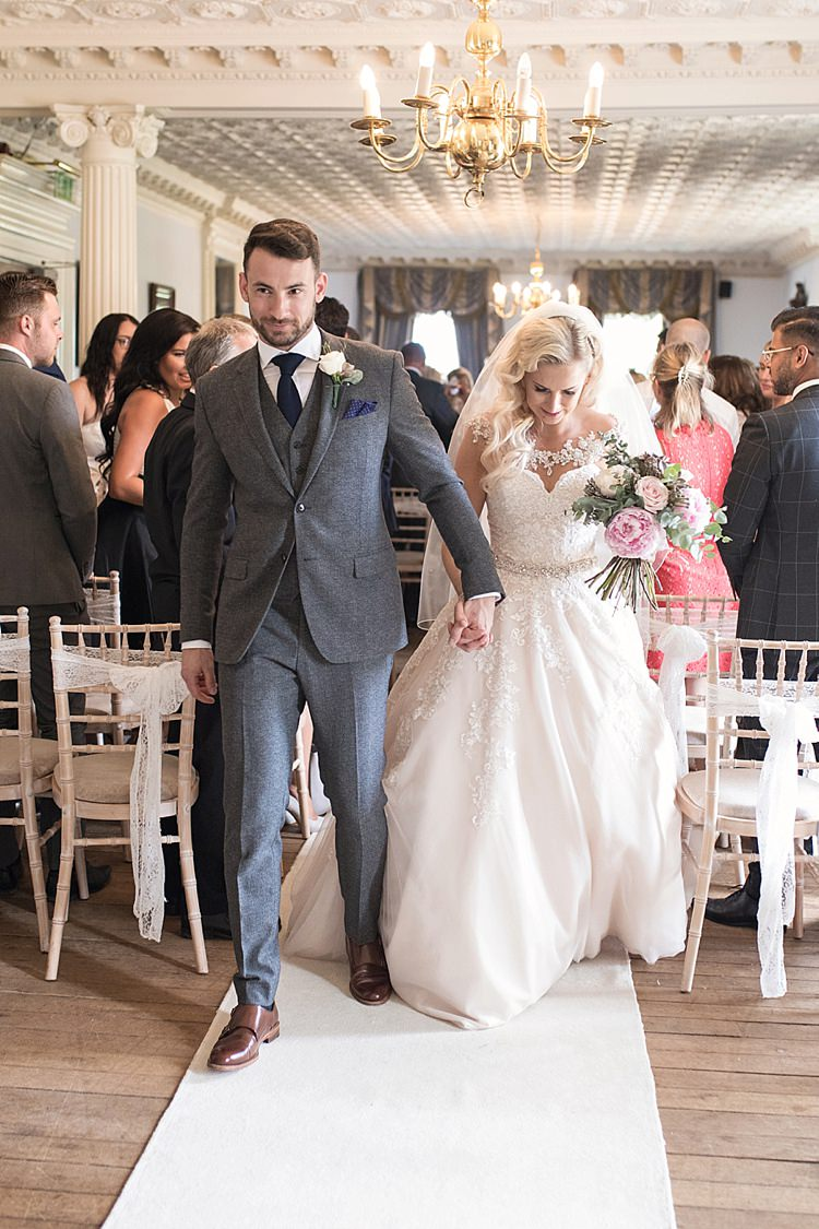 Bride Bridal Dress Gown Ronald Joyce Strapless Sweetheart Crystal Swarovski Shoulder Necklace Veil Blush Bouquet Peonies Roses Eucalyptus Reiss Groom Wool Grey Three Piece Waistcoat Pocket Square Classic Romantic Pretty Wedding https://kerryannduffy.com/