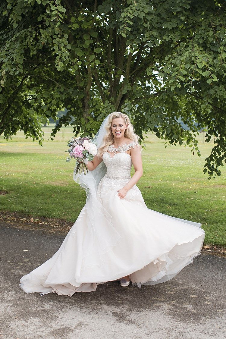 Bride Bridal Dress Gown Ronald Joyce Strapless Sweetheart Crystal Swarovski Shoulder Necklace Veil Blush Bouquet Peonies Roses Eucalyptus Classic Romantic Pretty Wedding https://kerryannduffy.com/