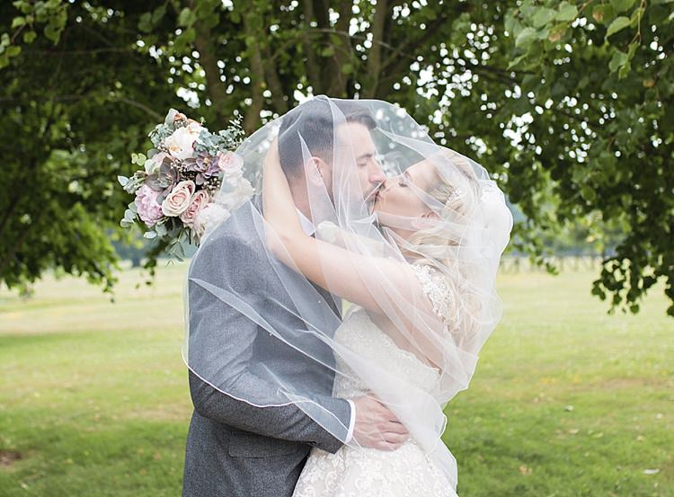 Bride Bridal Dress Gown Ronald Joyce Strapless Sweetheart Crystal Swarovski Shoulder Necklace Veil Blush Reiss Groom Classic Romantic Pretty Wedding https://kerryannduffy.com/
