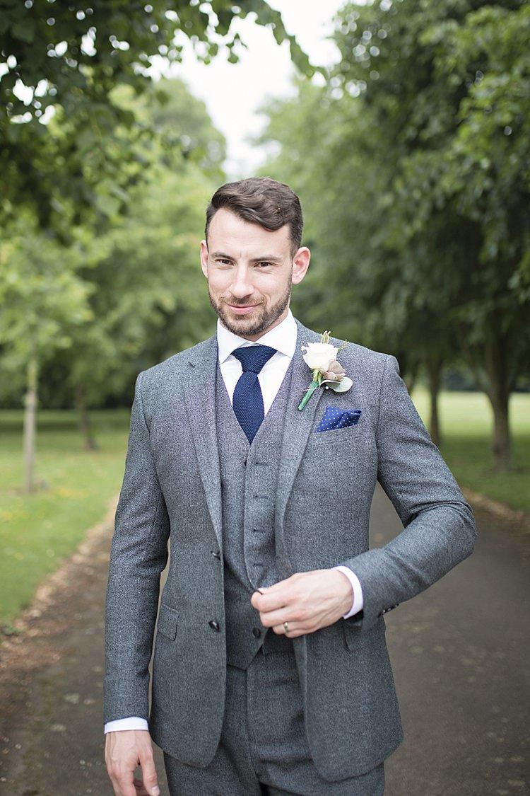 Reiss Groom Grey Wool Three Piece Waistcoat Blue Tie Pocket Square Classic Romantic Pretty Wedding https://kerryannduffy.com/