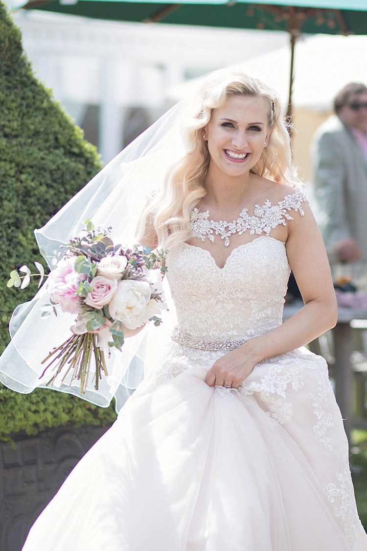 Bride Bridal Dress Gown Ronald Joyce Strapless Sweetheart Crystal Swarovski Shoulder Necklace Veil Blush Peonies Blousy Bouquet Roses Classic Romantic Pretty Wedding https://kerryannduffy.com/