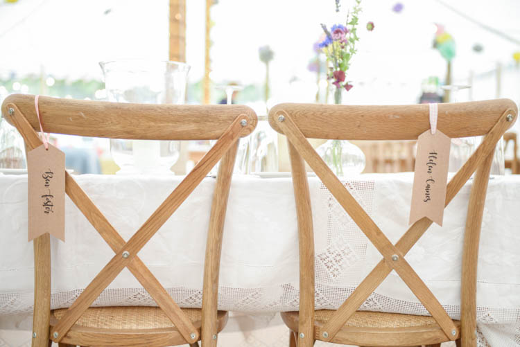 Chairs Seats Bride Groom Rustic Dining Fun Pastel Country Marquee Wedding http://kimberleywaterson.com/