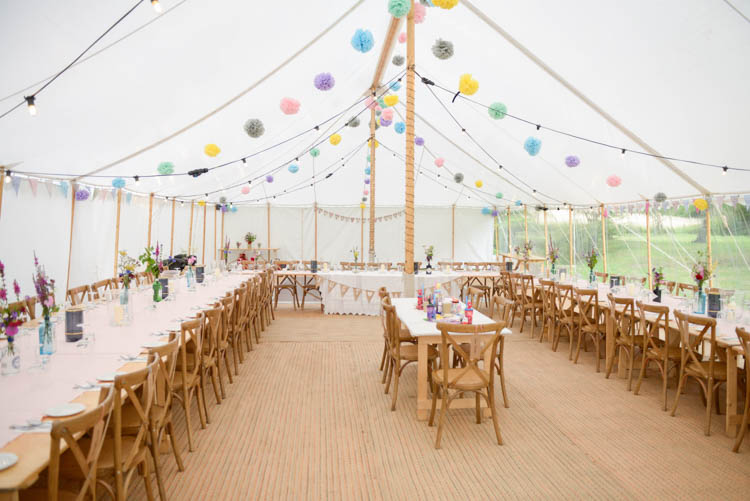 Marquee Colourful Multi Colour Paper Tissue Pom Poms Festoon Lighting Rustic Tables Fun Pastel Country Marquee Wedding http://kimberleywaterson.com/