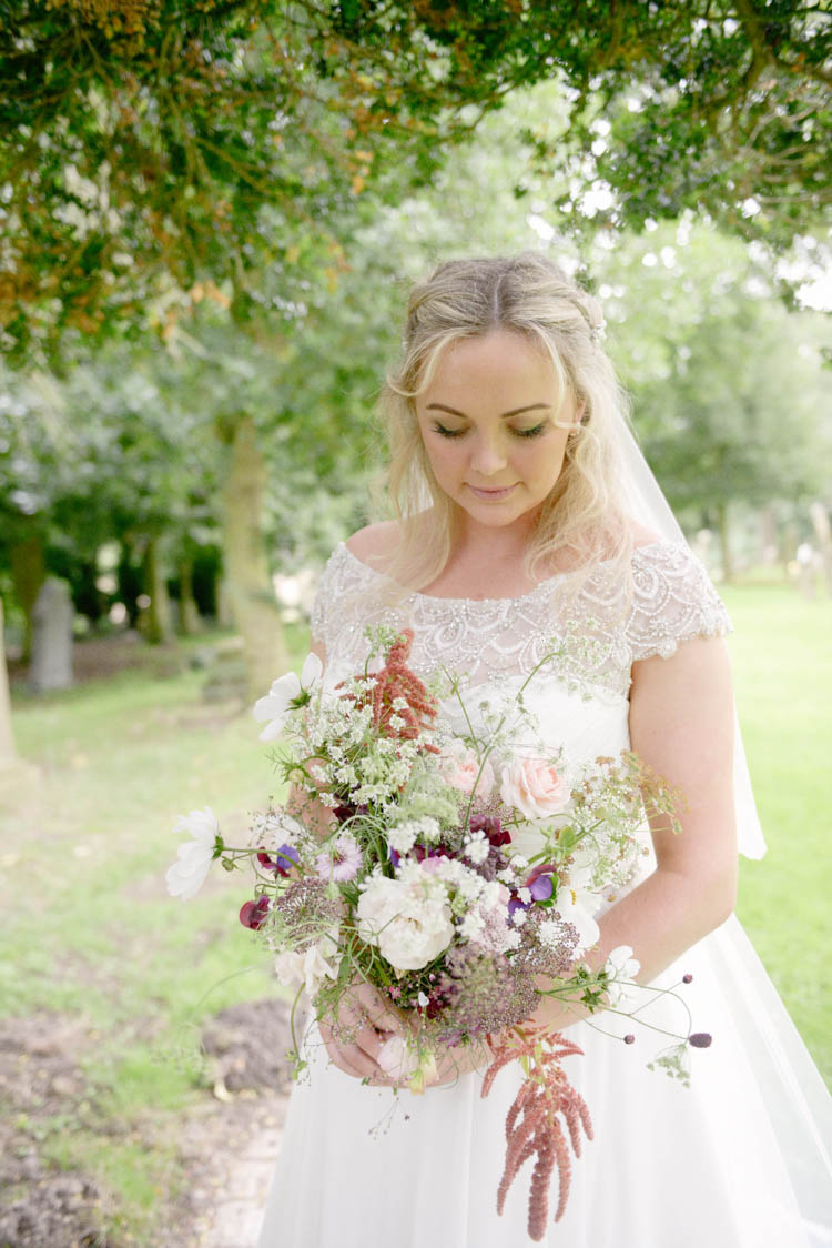 Bride Bridal Justin Alexander Dress Gown Bouquet Wild Flower Florals Meadow Fun Pastel Country Marquee Wedding http://kimberleywaterson.com/