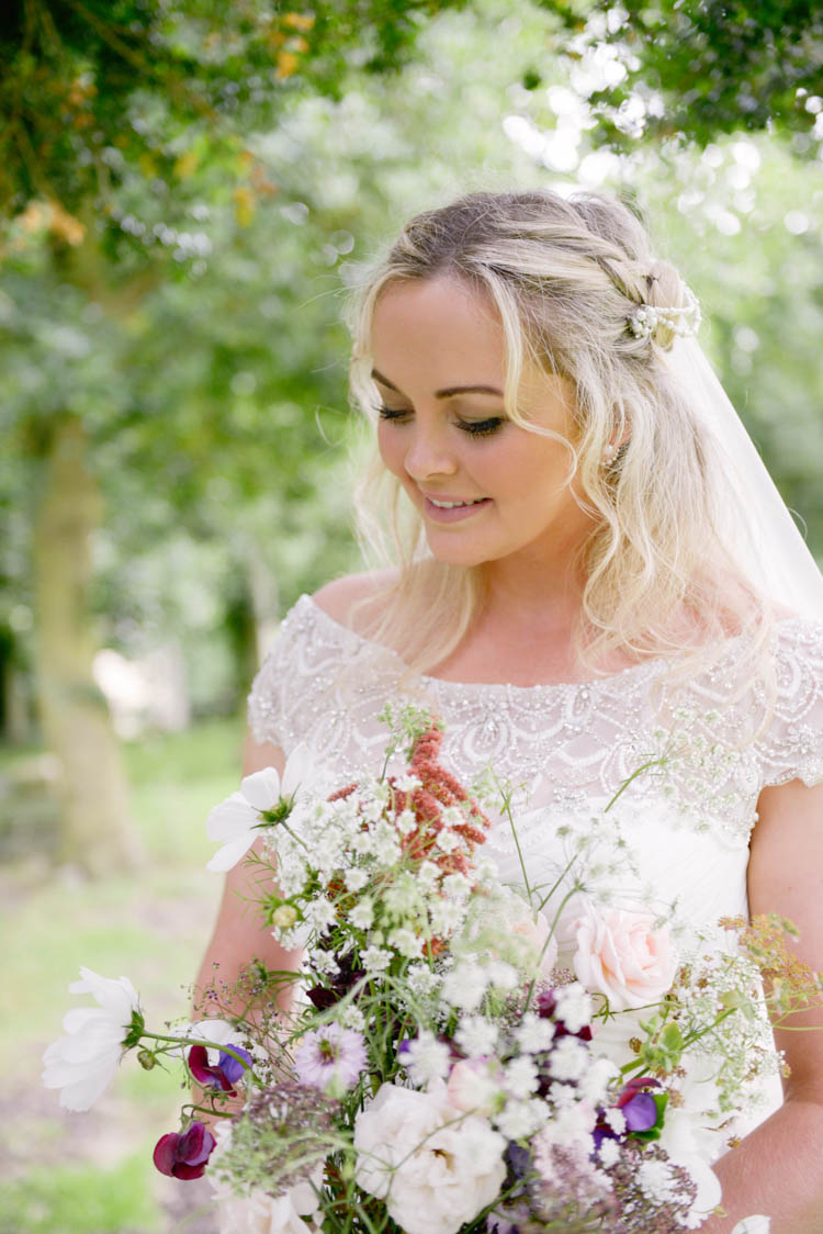 Bride Bridal Justin Alexander Dress Gown Veil Meadow Wild Flowers Florals Bouquet Fun Pastel Country Marquee Wedding http://kimberleywaterson.com/