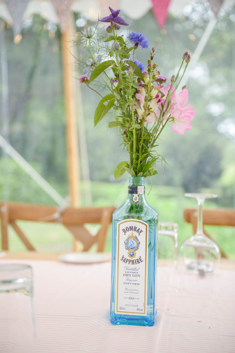 Gin Bottle Flower Florals Meadow Wild Fun Pastel Country Marquee Wedding http://kimberleywaterson.com/
