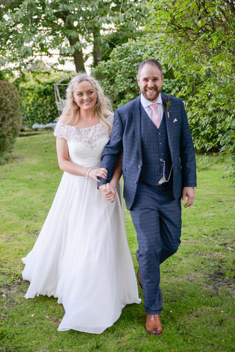 Bride Bridal Justin Alexander Dress Gown A Line Slaters Menswear Groom Grey Checked Three Piece Waistcoat Suit Pocket Square Watch Pink Tie Fun Pastel Country Marquee Wedding http://kimberleywaterson.com/