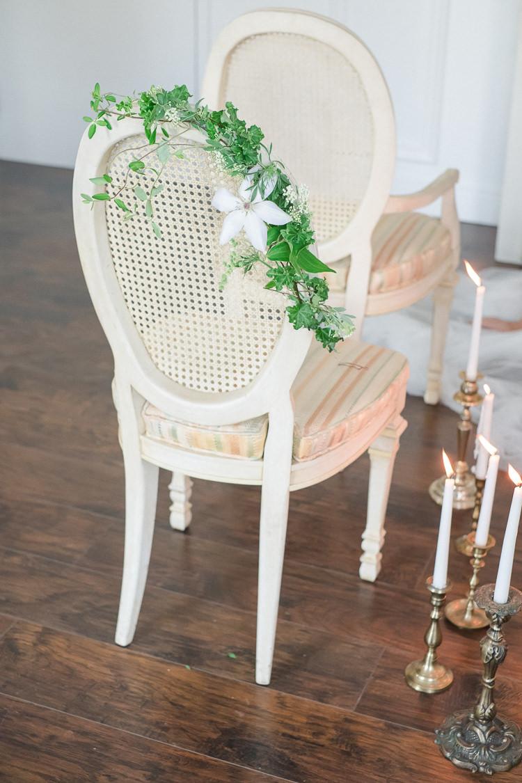 Chair Flowers Greenery Light Soft Romantic Wedding Ideas http://www.vanessavelez.photo/