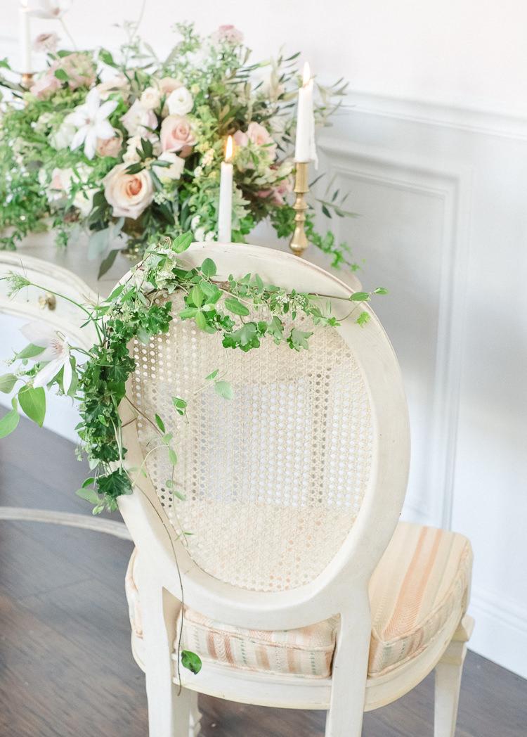 Chair Flowers Greenery Foliage Light Soft Romantic Wedding Ideas http://www.vanessavelez.photo/