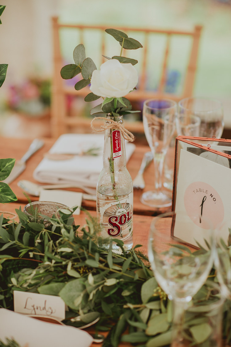 Bottle Flowers Decor Foliage Rustic Greenery White Apple Orchard Wedding http://bigbouquet.co.uk/