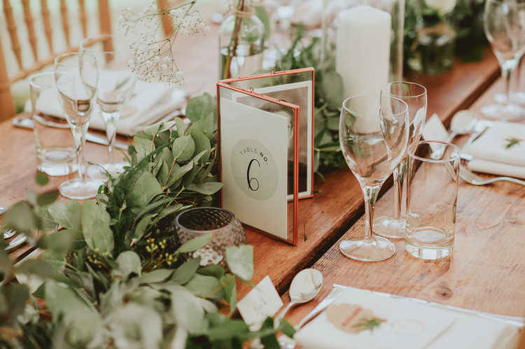 Table Numbers Copper Frame Rustic Greenery White Apple Orchard Wedding http://bigbouquet.co.uk/