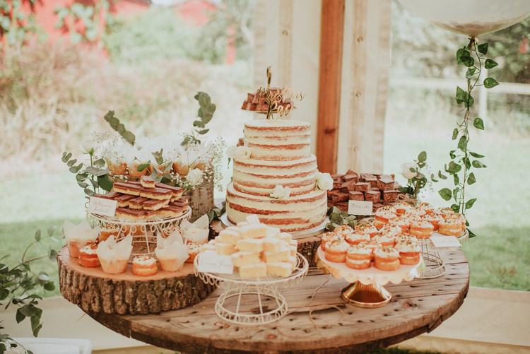 Cake Table Naked Sponge Desserts Rustic Greenery White Apple Orchard Wedding http://bigbouquet.co.uk/