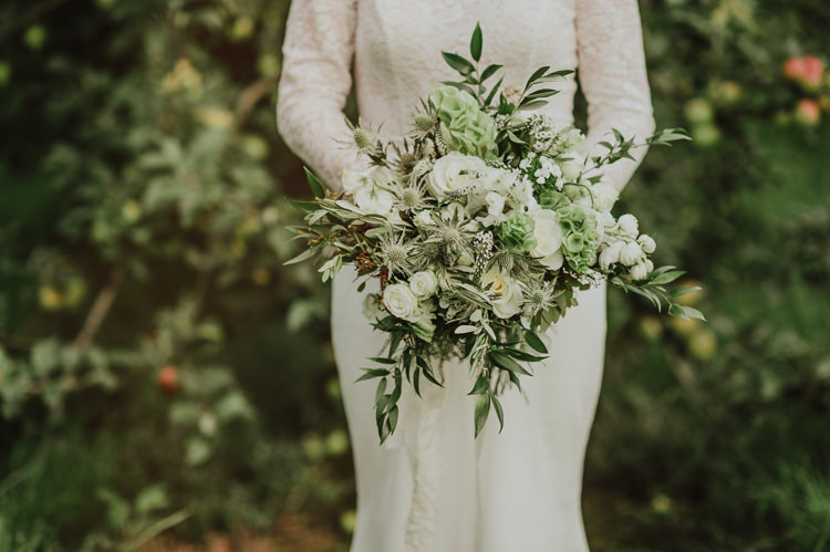 Bouquet Flowers Bride Bridal Green Foliage Rose Thistle Hydrangea Rustic Greenery White Apple Orchard Wedding http://bigbouquet.co.uk/