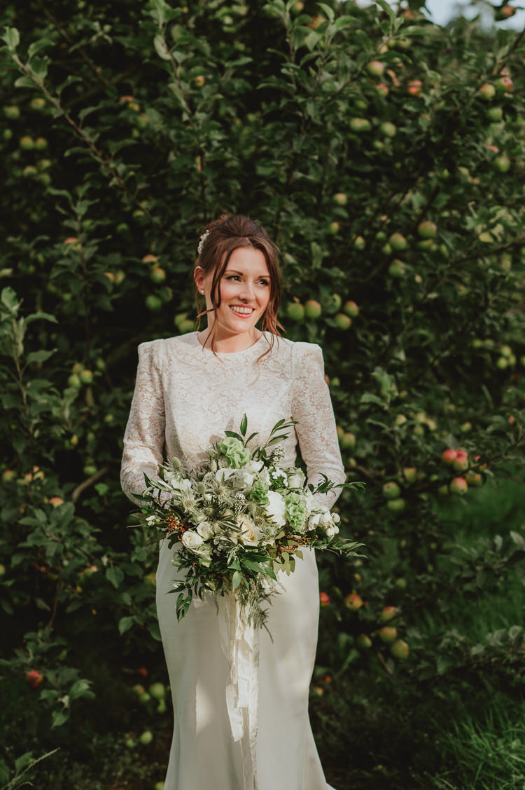 Bouquet Flowers Bride Bridal Green Foliage Rose Thistle Hydrangea Ribbon Rustic Greenery White Apple Orchard Wedding http://bigbouquet.co.uk/