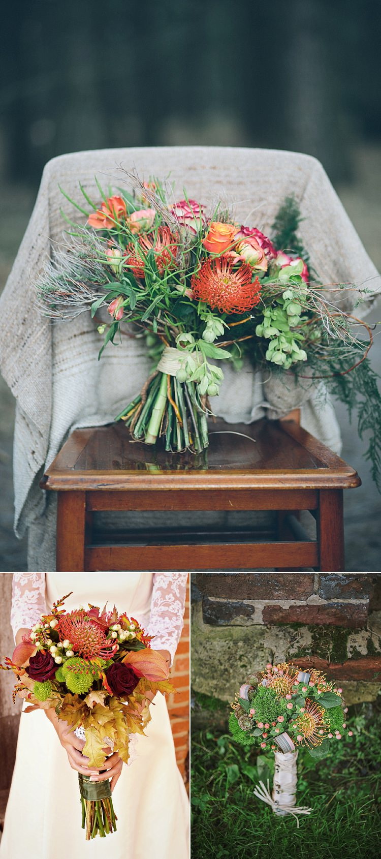 Pincushion Wedding Bouquet Flowers Autumn