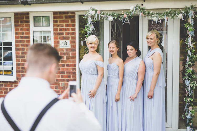 Multiway Bridesmaids ASOS Powder Blue Grecian Drop Shoulder Garland Black Tie Glamour Country Estate Wedding https://www.chrisblackledgephotography.co.uk/
