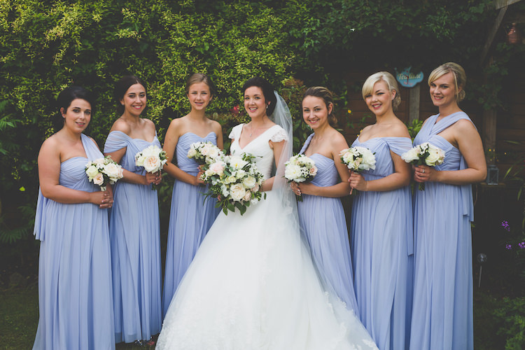 Bride Bridal Ronald Joyce A Line Dress Gown ASOS Bridesmaids Multiway Powder Blue Baby Black Tie Glamour Country Estate Wedding https://www.chrisblackledgephotography.co.uk/